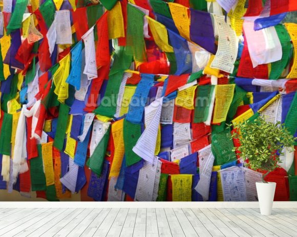 Buddhist prayer flags wall mural room setting