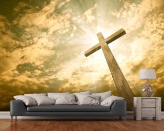 Cross against the sky mural wallpaper