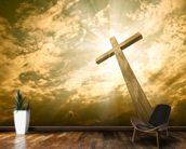 Cross against the sky mural wallpaper kitchen preview