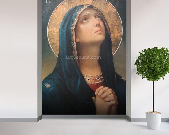 Antique religious icon wall mural room setting