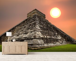 Chichen Itza mural wallpaper