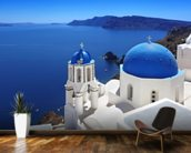 Santorini with Traditional Church in Oia, Greece wallpaper mural kitchen preview