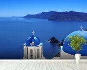 Santorini with Traditional Church in Oia, Greece wallpaper mural in-room view