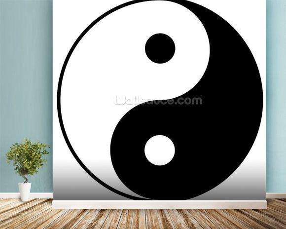 Yin yang symbol wallpaper wall mural wallsauce for Meuble mural yin yang