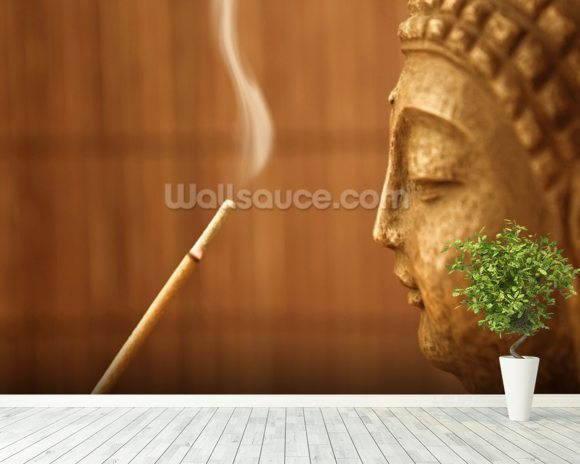 Zen Temple - Smoke Meditation with Buddha wall mural room setting