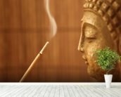 Zen Temple - Smoke Meditation with Buddha wall mural in-room view