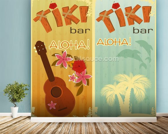 Retro Hawaii mural wallpaper room setting