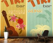 Retro Hawaii mural wallpaper kitchen preview