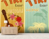 Retro Hawaii mural wallpaper living room preview
