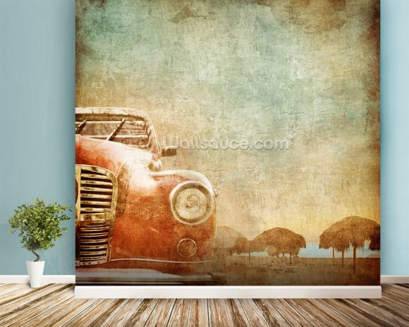 Vintage Car wallpaper mural room setting