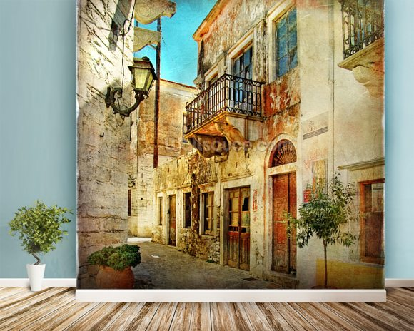 Old Town, Greece wall mural room setting