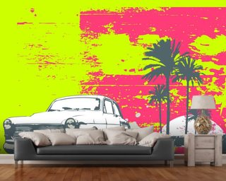 Retro Car Wall Mural Wallpaper Wallpaper Wall Murals