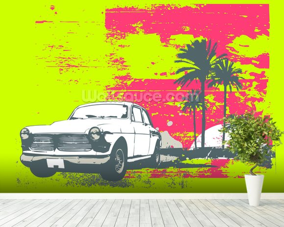Retro car wallpaper wall mural wallsauce for Car wallpaper mural