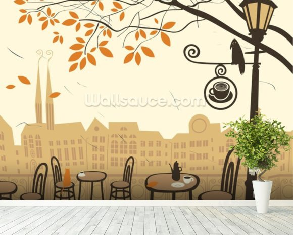 Street cafe wallpaper wall mural wallsauce usa for Cafe mural wallpaper