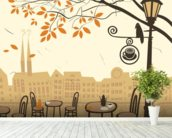 Street Cafe wallpaper mural in-room view