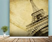 Eiffel Tower Vintage mural wallpaper in-room view