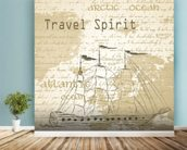 Vintage Travel Spirit wall mural in-room view