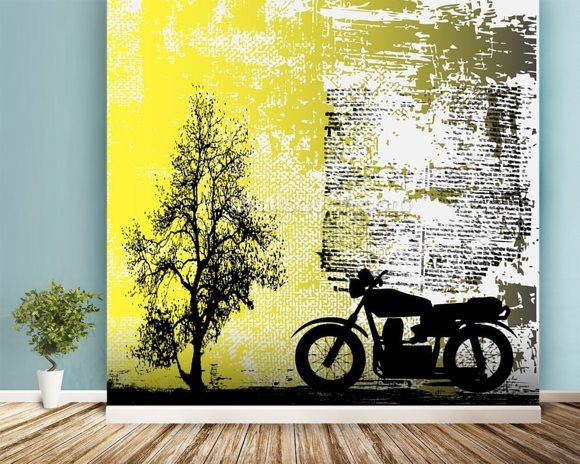 Retro Motorcycle mural wallpaper room setting