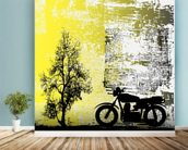 Retro Motorcycle mural wallpaper in-room view