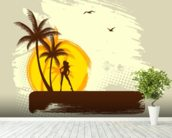 Tropics wall mural in-room view