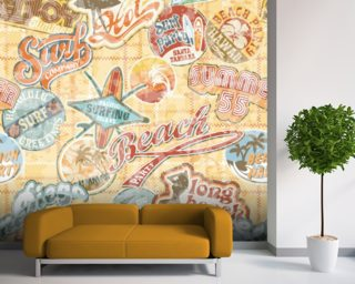 Vintage Beach Abstract wallpaper mural