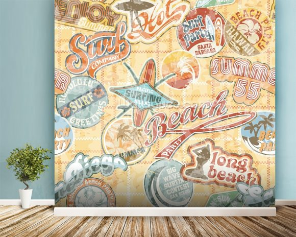 Vintage Beach Abstract wallpaper mural room setting