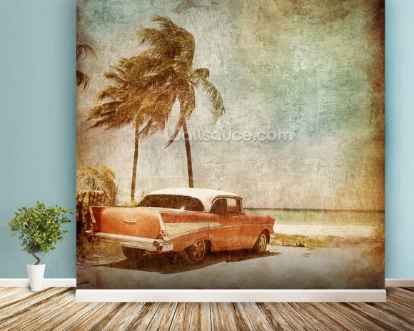 Sea Breeze wallpaper mural room setting