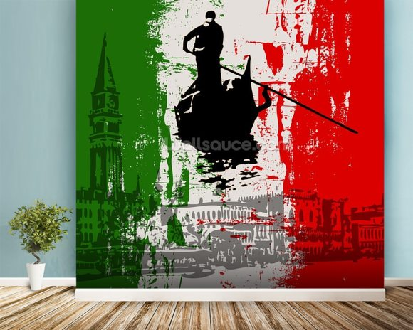 Italian Flag Abstract mural wallpaper room setting