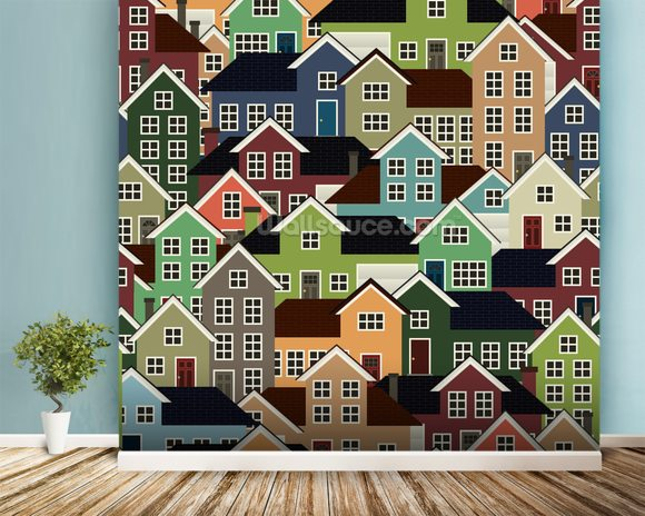 Colourful Town mural wallpaper room setting