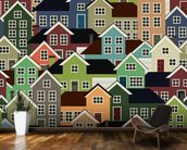 Colourful Town mural wallpaper kitchen preview