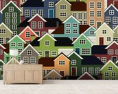 Colourful Town mural wallpaper living room preview