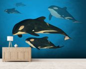 Orca Family wallpaper mural living room preview