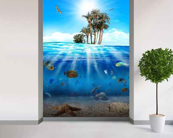 Underwater Scene wallpaper mural room setting
