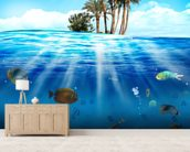 Underwater Scene wallpaper mural living room preview