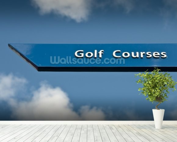 Golf Course Sign wall mural room setting