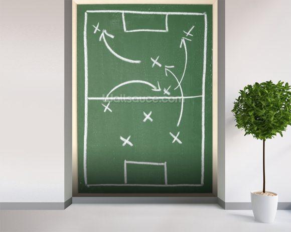 Chalkboard classroom soccer tactics team sport coach Wall Mural