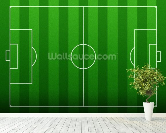 Football Pitch mural wallpaper room setting