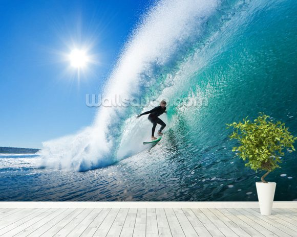 Surfing the Wall wall mural room setting