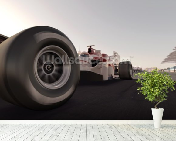 Formula One Racing Car wallpaper mural room setting