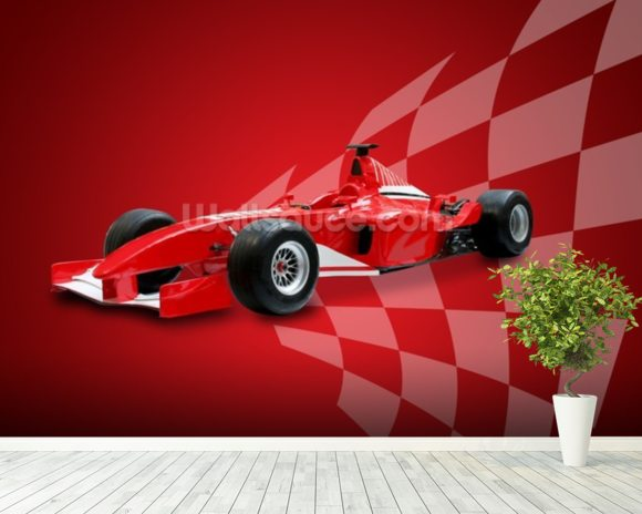 Red Racing Car wall mural room setting