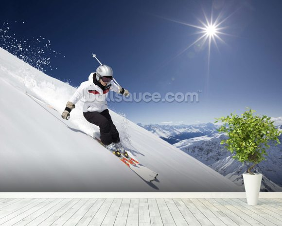 Female Skier mural wallpaper room setting