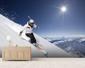 Female Skier mural wallpaper living room preview