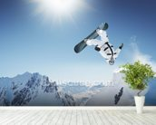 Snowboarding wall mural in-room view