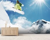 Snowboarder wallpaper mural living room preview