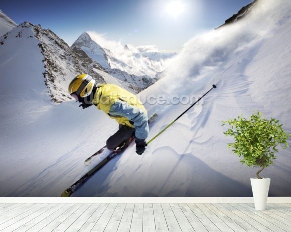 Skier wall mural room setting