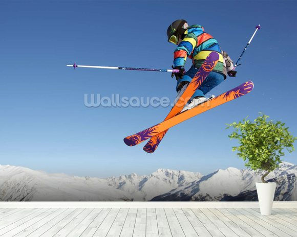 Extreme Skiing wallpaper mural room setting
