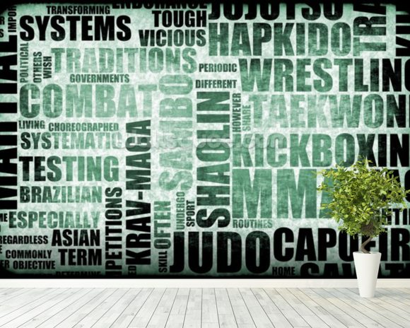 Martial Arts Word Typography wall mural room setting