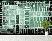 Martial Arts Word Typography wall mural in-room view