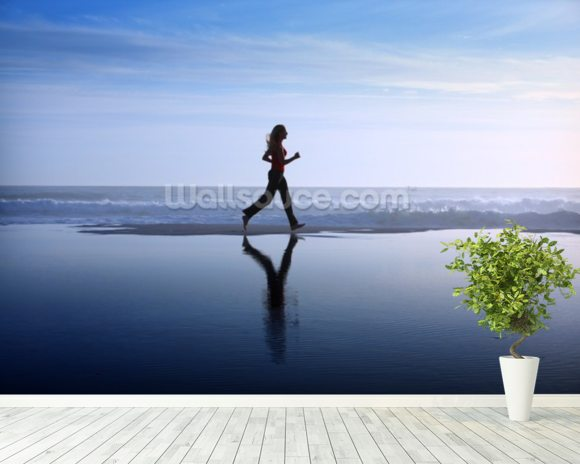 Running on Beach wallpaper mural room setting