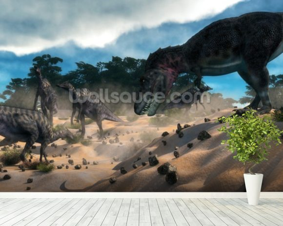Dinosaur Hunting wallpaper mural room setting